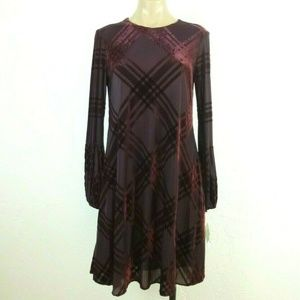 Taylor Dress 4 Burgundy Purple Burnout Velvet